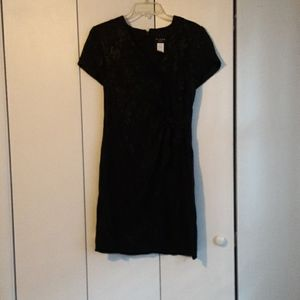 Virgo Medium V Neck Black Dress, Petite Size 8